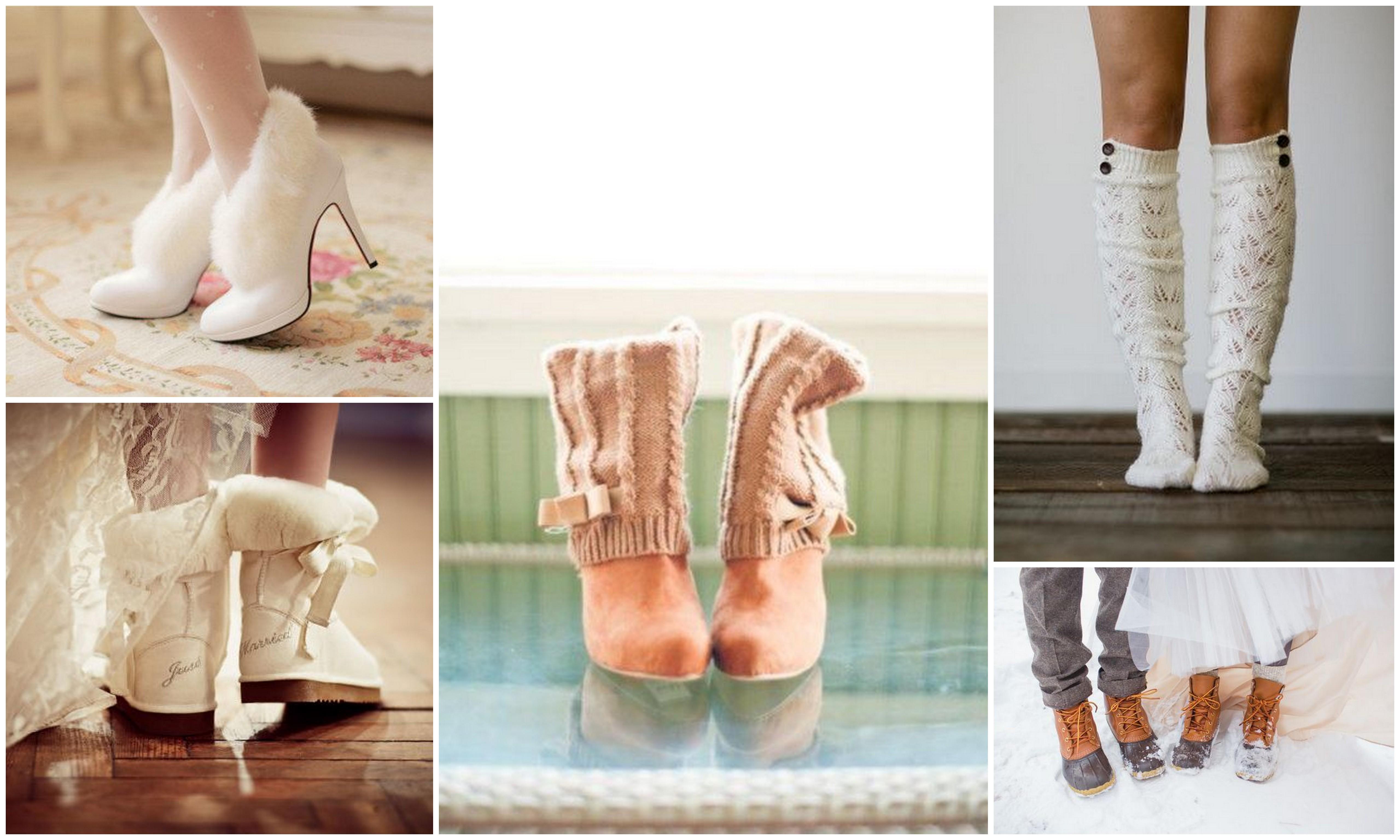 свадебная обувь, свадебные гольфы,свадебная фотосессия зимой