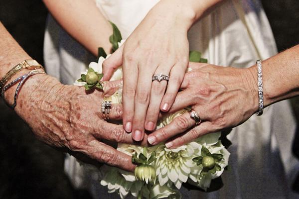 Сентиментальные фотоидеи для родителей на свадьбе. Фотография, на которой засняты руки невесты, ее мамы и бабушки с обручальными кольцами.