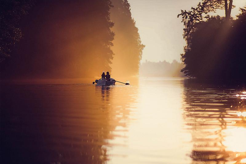 лодка, закат