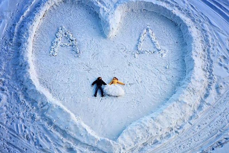 свадьба в русском стиле зимой фото