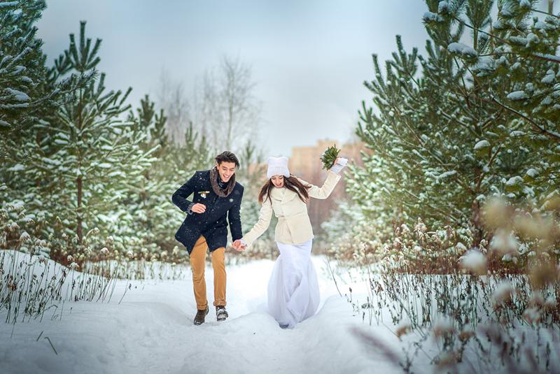 где фотографироваться зимой на свадьбе