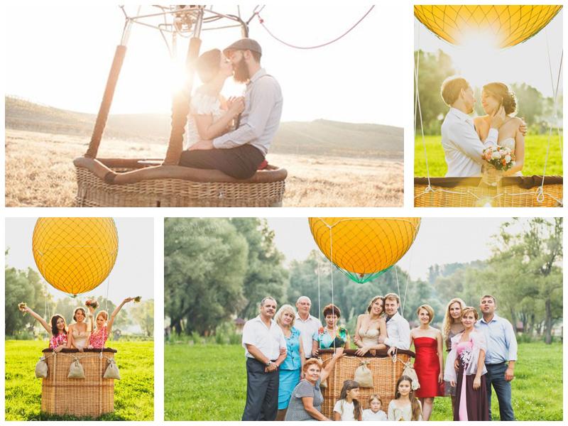 Свадебная фотосессия на воздушном шаре и самолете