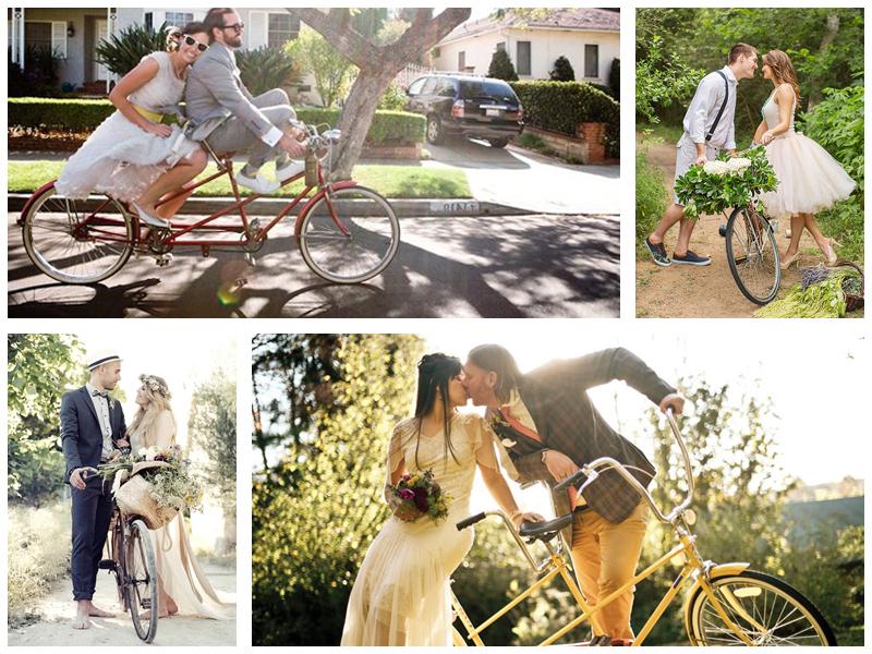Свадебная фотосессия на велосипеде