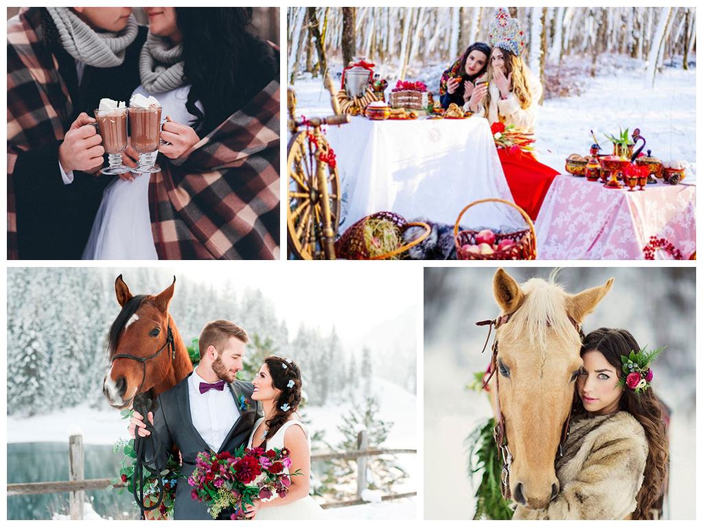 свадебная фотосессия зимой в лесу