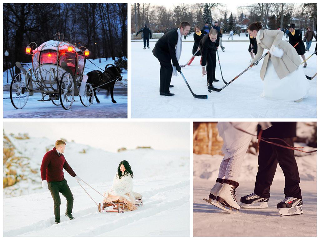 свадебная фотосессия зимой на катке