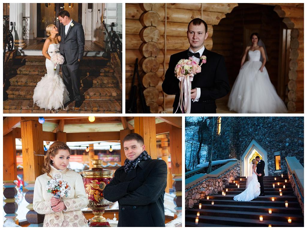 свадебная фотосессия зимой в старинной усадьбе