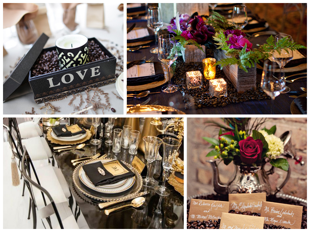 кофейная свадьба украшение праздничных столов