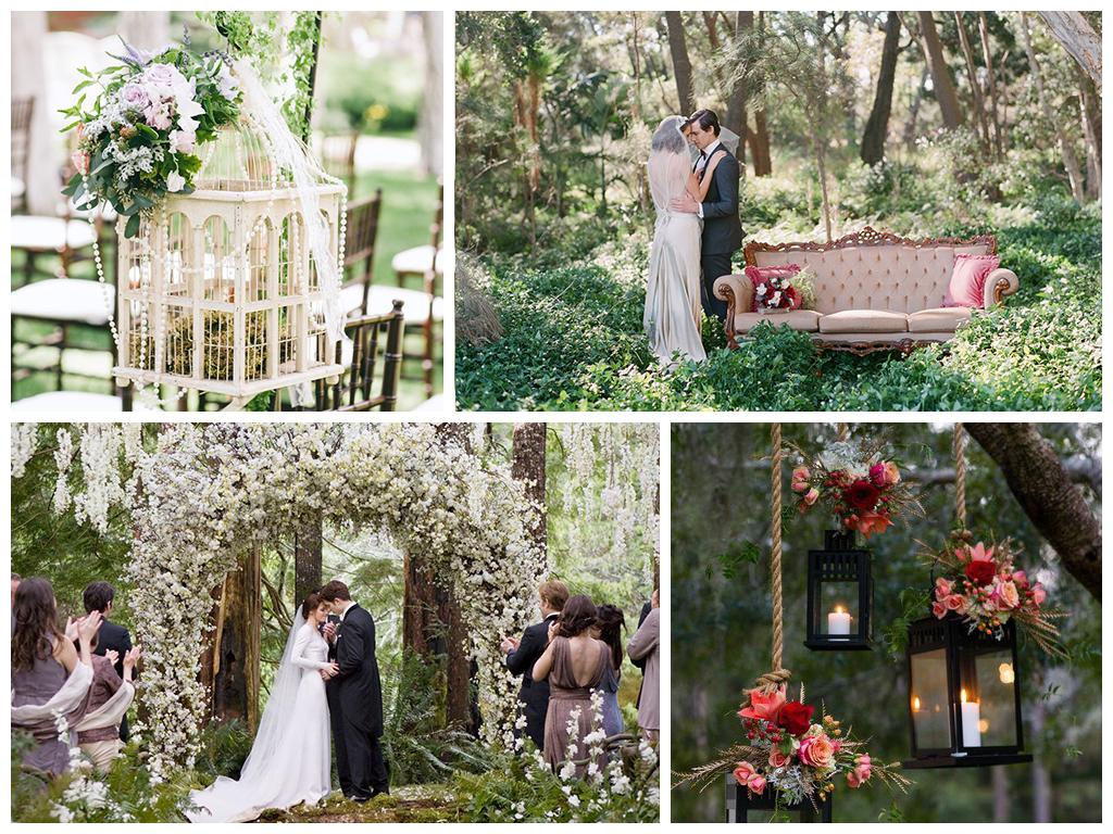 оформление лесной свадьбы