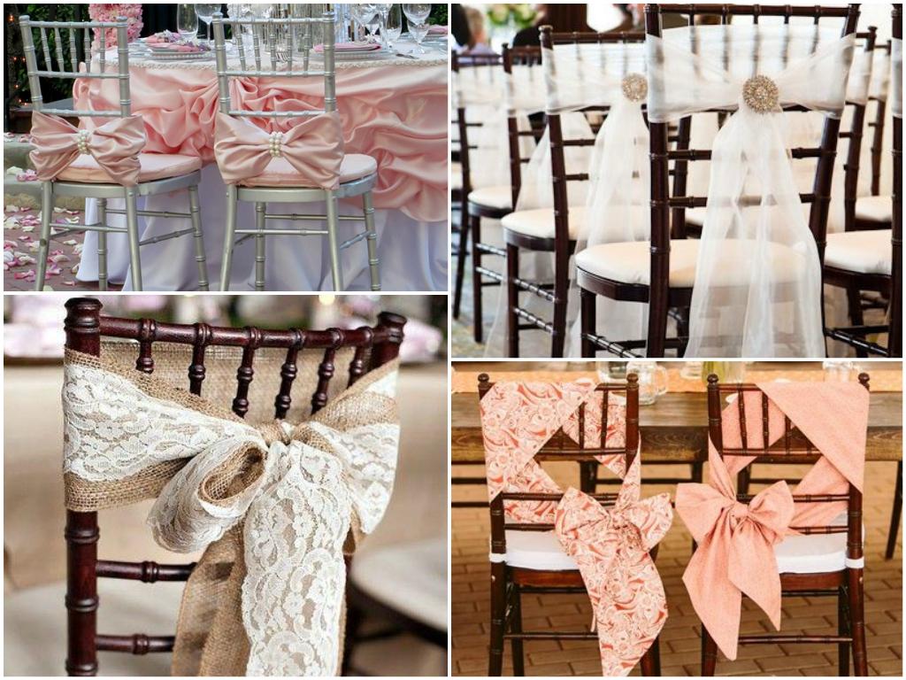 украшение стульев, оформление свадебного зала