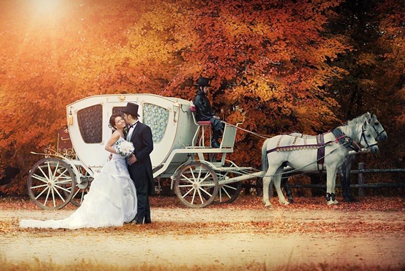 осенняя свадьба наряд