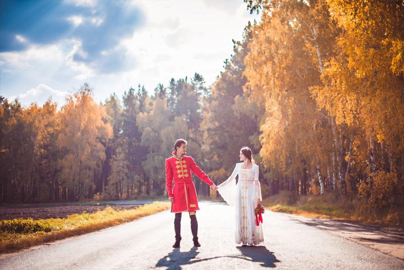 осенняя свадьба платье