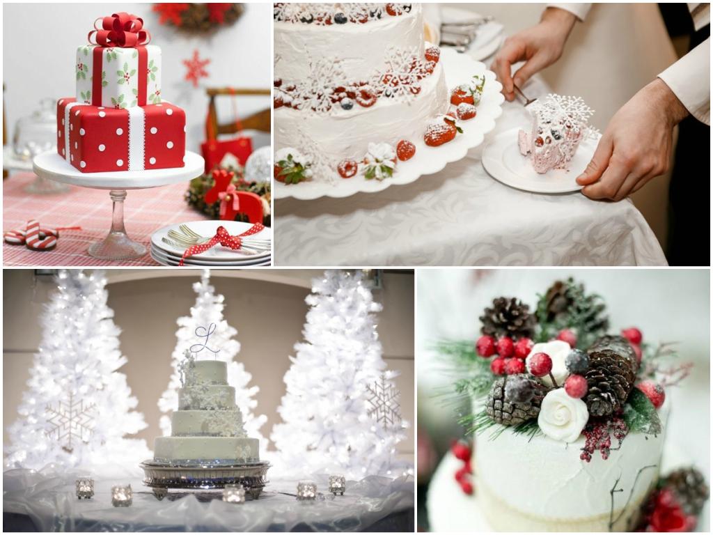 свадебный торт рождественская свадьба