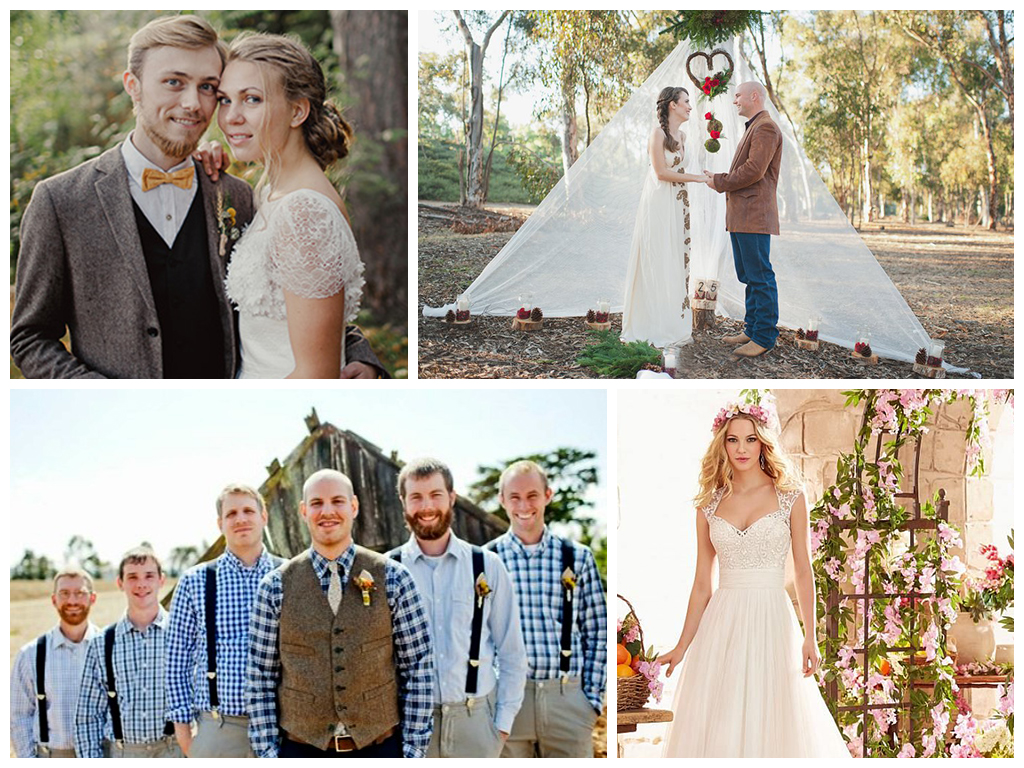 Свадьба в стиле рустик одежда гостей и молодоженов