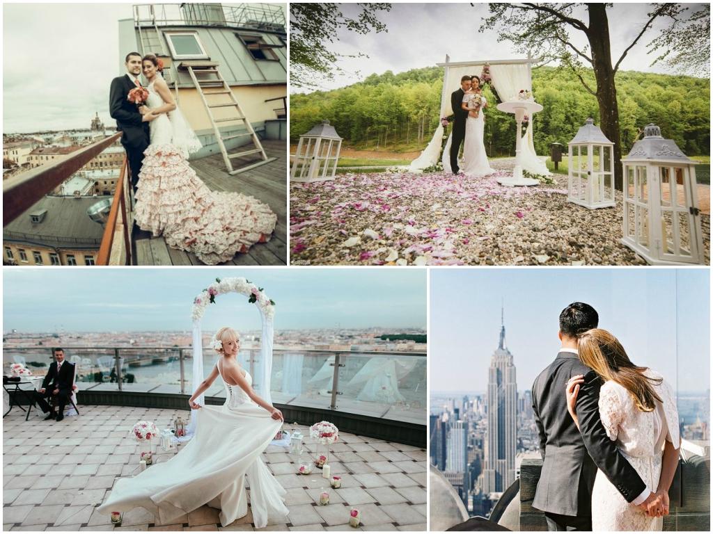 свадебная фотосессия на открытом воздухе