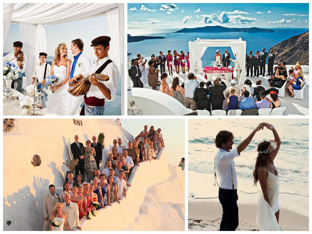 свадьба на острове санторини в греции