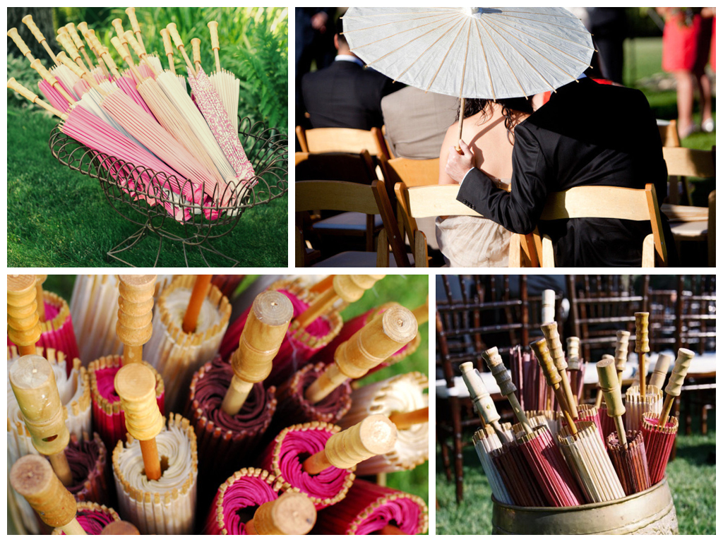 Как можно украсить банкетный зал. 5 оригинальных элементов свадебного декора: светящиеся указатели, попкорн-машина, диспенсеры, цветные чемоданы и зонтики.